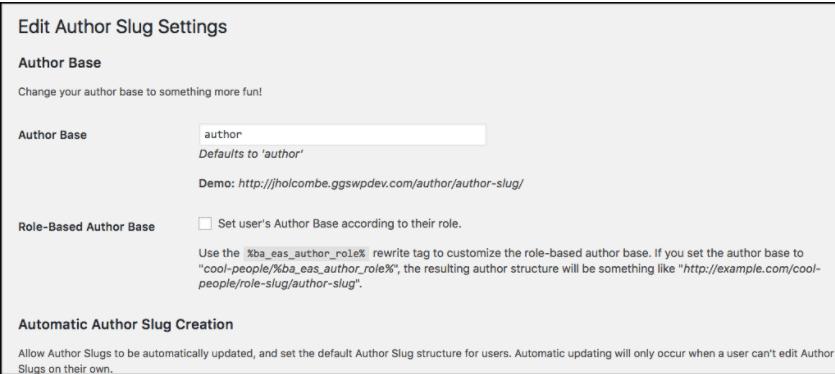 Edit Author Slug Settings